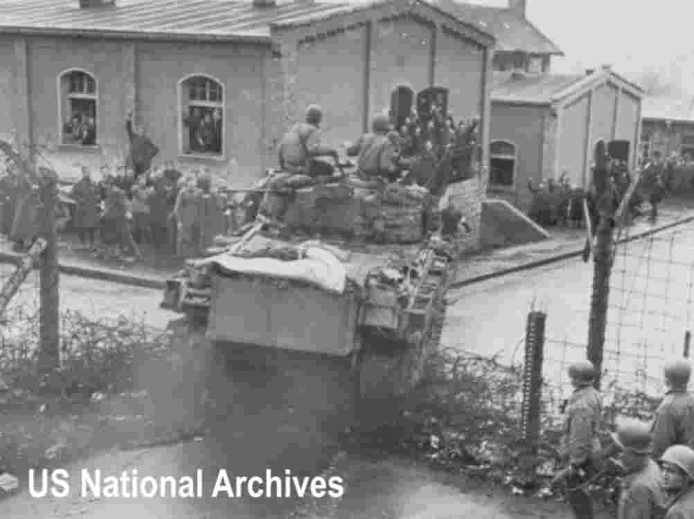 14th Armored Division tanks finally liberate the POW camp at Hammelburg